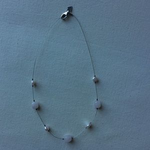 Jewelry - Sterling Silver Necklace with Pink Stones